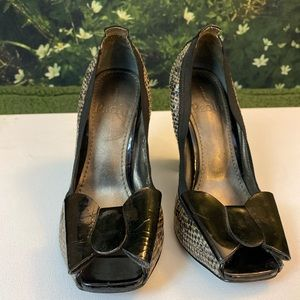 Linea Paolo Snake Skin with Bow Heels